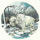 Ceramic Decals White Buffalo Animal Winter/Snow Scene image