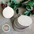 Wooden Round Bauble Hanging Christmas Tree Blank Decorations Gift Tag Shapes