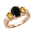 2.43 Ct Oval Black Onyx Yellow Citrine 925 Rose Gold Plated Silver 3-Stone Ring