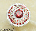 Xmas Gift Vintage HERMOSA JEWELRY Fire Red Garnet Sterling Silver Hot Ring 7,E60