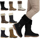 Ladies Quilted Womens Buckle Winter Grip Sole Fur Trim Boots Shoes Size 5-10