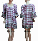 Boho Tunic Kaftan Long Top Mini Dress Floral Print Burgundy Beige Size S M L