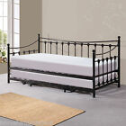 TRADITIONAL METAL DAY BED WITH TRUNDLE BED + 2X MEMORY/SPRUNG ORTHO MATTRESS