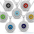 Evil Eye Bead Pendant Greek Key Turkish Nazar Hamsa 925 Sterling Silver Necklace