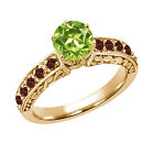 1.32 Ct Round Green Peridot Red Garnet 14K Yellow Gold Ring