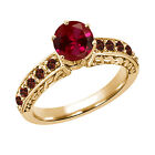 1.42 Ct Round Red Created Ruby Garnet 18K Yellow Gold Ring