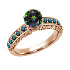 1.30 Ct Round Green Mystic Topaz Blue Diamond 18K Rose Gold Ring