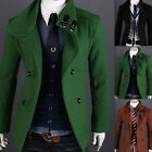 Men's Slim Fit Double Breasted Strap Trench Casual Coat Jacket Overcoat MWF043
