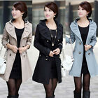 Fashion Lady Women Slim Double Breasted Trench Long Sleeve Hoodie Coat Jacket