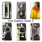 Retro Vintage Cassette Tape, BoomBox, Camera Case Cover for Galaxy Note 3