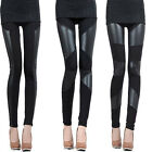 Sexy Women New Fashion Stitching Stretch Faux Leather Back Tights Leggings Pants