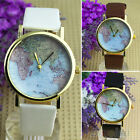 VINTAGE CHIC WORLD MAP WATCH LEATHER ALLOY WOMEN ANALOG QUARTZ WRIST WATCH BD3K
