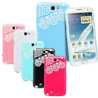 STYLISH PEARL LACE HARD CASE COVER FOR SAMSUNG GALAXY NOTE 2 N7100 W/ FILM GUARD