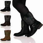 WOMENS LADIES FLAT LOW HEELS STUDDED ANKLE MID CALF ZIP LINED BOOTS BIGGER SIZES