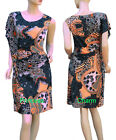 Summer Tunic Day Dress Grey Orange White Print Asymmetric Sleeve SZ 12 14 16 18