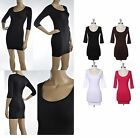NEW 3/4 SLEEVE MINI DRESS Seamless Solid Color Stretch Mini Dress One Size