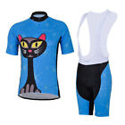 Blue Cat Cycling Bike Short Sleeve Clothing Set Bicycle Women Jersey Bib Shorts