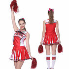 Glee style Cheerleader Cheerios Costume Fancy Dress Outfit Adult w/ Pom poms