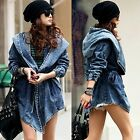 Women's Denim Jean Trench Oversized Casual Outerwear Hooded Jeans Coat Jacket