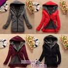 ♥Warme Mantel Damen Winterjacke Fleecejack mit Kapuze in 4 Farben+Gr. 34-42+NEU♥