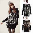 Sexy Women Lady Tiger Print Loose Batwing Tops Long Full Sleeve Pullovers Blouse