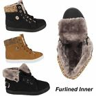 GIRLS KIDS HI HIGH TOPS TRAINERS FUR LINED FLAT FLAT BOOTS SHOES SIZES UK 10-3