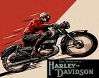 GET THERE ON A USA HARLEY DAVIDSON MOTORCYCLE BIKE RIDE VINTAGE POSTER REPRO