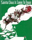 MERRY CHRISTMAS SANTA CLAUS COMING TO TOWN REINDEER SLEIGH VINTAGE POSTER REPRO