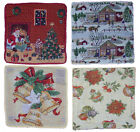 "XMAS TAPESTRY CUSHION COVER HOLLY 17"" x 17"" Santa Bells Village"