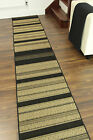 Cut To Any Length Sold Per Metre Black Beige Striped Thin Non Slip Runner Mats
