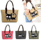Women Cute Cat Design Big Ladies Canvas Handbag Shopper Purse Shoulder Tote Bag