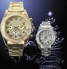 Elegant Silver Gold Case Bling Crystal Ladies Womens Analog Quartz Wrist Watch