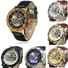 Mens Skeleton Transparent Mechanical Stainless Steel Leather Sport Watch Gift