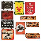Large lot of New High Quality Wooden Military, Zombie Signs