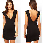 Sexy Women Deep V-neck Backless Slim Cocktail Dress Ball Party Mini Dress Casual