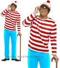 S M L XL Wheres Wally Costume Hat Glasses Where's Waldo Mens Fancy Dress Outfit