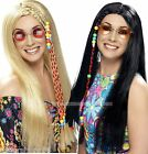Hippy Wig 60s Blond Black Hippy Wig Festival Hippie Fancy Dress Costume Wig