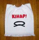 Karate Baby Bib with neck ribbing on white towel, appliqued, personalized