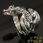 WINGED DRAGON STAINLESS STEEL RING wyvern silver dragon claw gothic larp hobbit