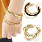 ELEGANT WOMENS HANDMADE GOLD BRAIDED STRAP CHAIN BANGLE MULTILAYER BRACELET BD2K