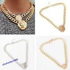 New Fashion Gold Flat Chain Statement Choker Lion Queen Head Pendant Necklace