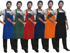 "Kitchen Bib Apron Chef Bib Apron Cooking Front Pocket 26""x37"" Multi Colors"