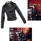 Women's Ladies Biker Bomber Jacket Crop Faux Leather Ladies Rivet ZIP Coat S/M