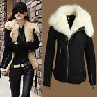 Women's Winter Warm Lush Fur Waist Belt Parka Black Coat Outerwear Jacket