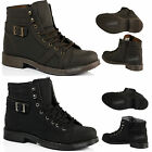 MENS CASUAL LACE UP ANKLE FAUX LEATHER MID MILITARY COMBAT BLACK ZIP BOOTS SIZE