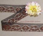 """12/24 Yd Brown Lace Trim 3/4"""" Vintage Floral Picot I24CV Buy More-Ship No Charge"""
