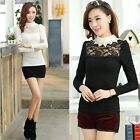 Women Hollow Lace Base Pullover Velvet Blouse White Neck Flocking Silm Tops
