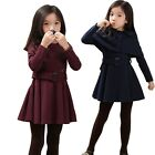 New Girls Kids Pageant Dress 3-8Y Belt Shawl Clothes 2Pcs Set Long Sleeve Outfit