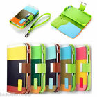 Striped Leather Iphone 5 Wallet Case Flip Stand Cover + Screen Guard And Strap