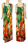 Summer Kaftan Maxi Dress Orange Green Red Peacock Feather Print Size 10 12 New